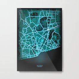 Accra, Ghana, Blue, White, Neon, Glow, City, Map Metal Print