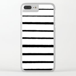 Black and White Rough Organic Stripes Clear iPhone Case