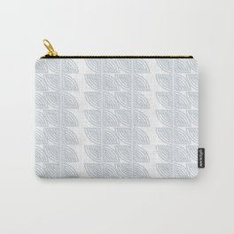 abstract vines pattern in white and a pale icy gray Carry-All Pouch