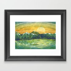 Mountains and Sunset over the lake Framed Art Print