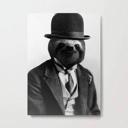 Sloth with Bowl Hat Metal Print