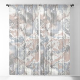 Marble Mist Terra Cotta Blue Sheer Curtain