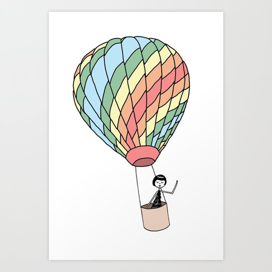 Eloise takes a ride in a hot air balloon Art Print