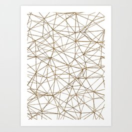 Geometric triangles glitter pattern. Modern stylish texture. Gold trendy glitter print background Art Print