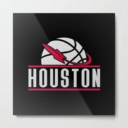 Houston basketball custom black logo Metal Print