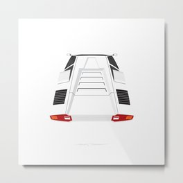 Countach in White Metal Print