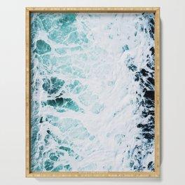 Water, Sea, Ocean, Wave, Blue, Nature, Modern art, Art, Minimal, Wall art Art Print Serving Tray