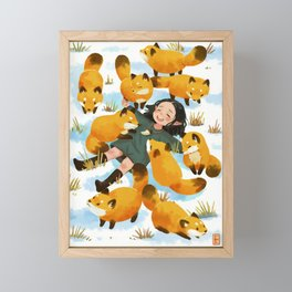 Snuggles with foxes Framed Mini Art Print