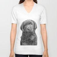 labrador V-neck T-shirts featuring labrador puppy by Necla Karahalil