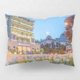 Lugano, Switzerland - Hotel Bellevue at Twilight lakeside photograph Pillow Sham