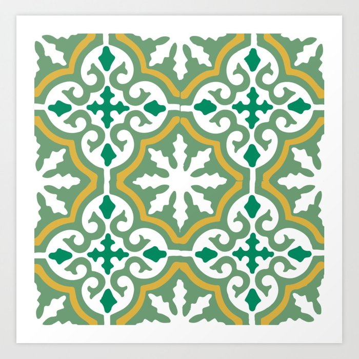 Moroccan Mosaic Tile Pattern Green Yellow Art Print by koovox | Society6