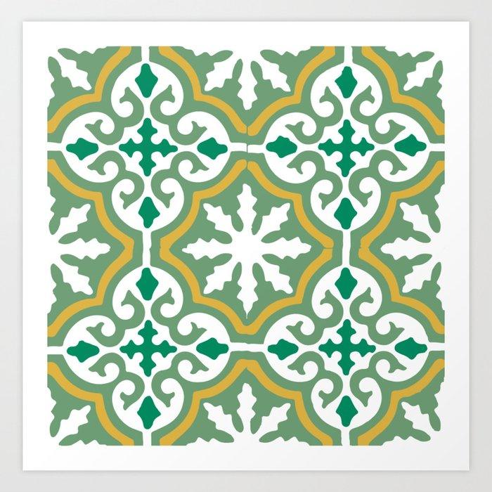 Moroccan Mosaic Tile Pattern Green Yellow Art Print