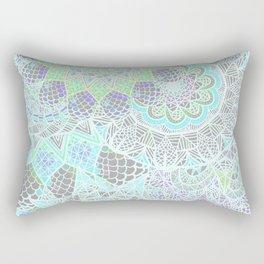 Spring Explosion: Bright Green and Blue Mandala Pattern Rectangular Pillow