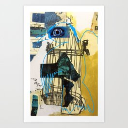 Blue Bird Escape  Art Print