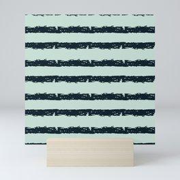 Texture Stripe Deep Blue and Light Cyan Mini Art Print