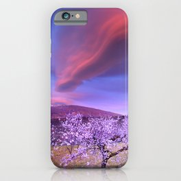 Lenticular clouds over Sierra Nevada and almonds iPhone Case
