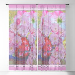 PINK AND MORE PINK ROSES RED VASE ART Sheer Curtain