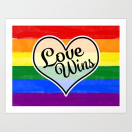 Pride Flag Love is Love-Water Color Graphic  Design  Art Print