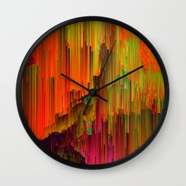 Radioactive - Abstract Glitched Pixel Art Wall Clock