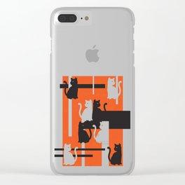Cat in De Stijl - Halloween Edition Clear iPhone Case