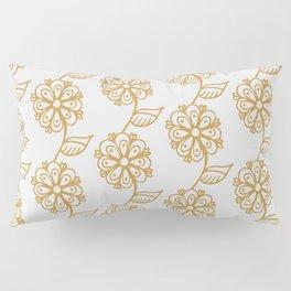 Golden floral on white 2/5 Pillow Sham