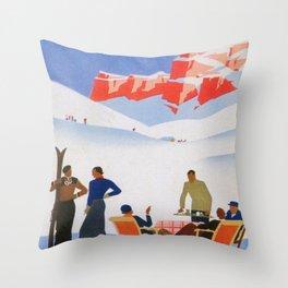 Dolomites Italy Vintage Ski Poster Throw Pillow