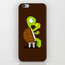 Turtle drinking tea with cookies. iPhone Skin