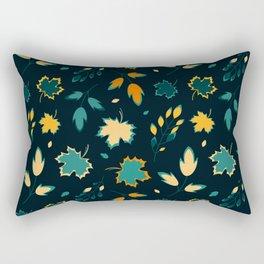 Autumn leaves dark theme vector seamless pattern Rectangular Pillow