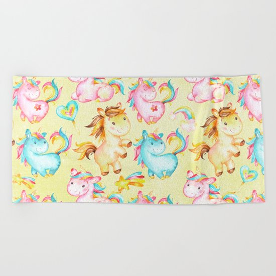 Unicorn Zoo- Cute pastel unicorn on yellow Beach Towel