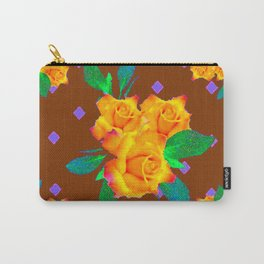 Chocolate Brown Golden Rose Violet Accents Carry-All Pouch