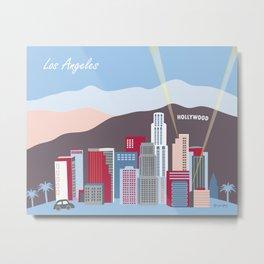 Los Angeles, California - Skyline Illustration by Loose Petals Metal Print