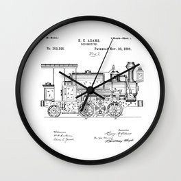 Vintage Black Patent Print 1886 Locomotive Steam Train Wall Clock