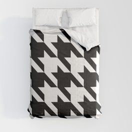 Classic Houndstooth Black and White Large Retro Dog Tooth Pattern Fashion Comforters
