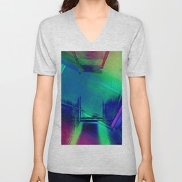 Blue Glitch - No Way Out Abstract Painting Unisex V-Neck