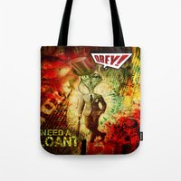 obey Tote Bags featuring Obey! by Emanpris Artcore