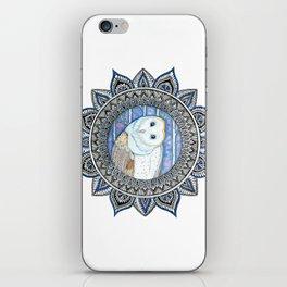 Winter Barn Owl Mandala iPhone Skin