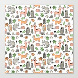 Woodland foxes rabbits deer owls forest animals cute pattern by andrea lauren Canvas Print