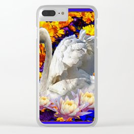 WHITE SWAN YELLOW-BLUE FLOWERS AQUATIC ART Clear iPhone Case