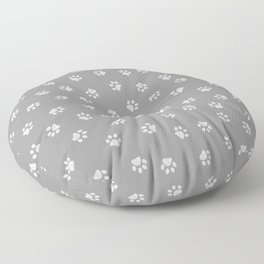 Doodle white paw print seamless fabric design repeated pattern with grey background Floor Pillow