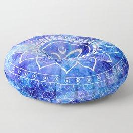 Om Mandala Blue Lavender Galaxy Floor Pillow