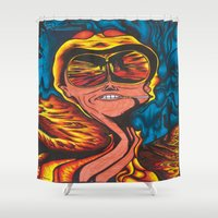 fear and loathing Shower Curtains featuring Fear and Loathing  by Katrina Berkenbosch