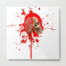 WHITE RED EXPLODING BLOODY SKULL HALLOWEEN  ART Metal Print