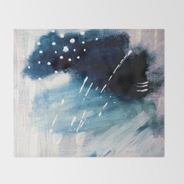Meteor Shower - an abstract acrylic piece in blue and white Throw Blanket