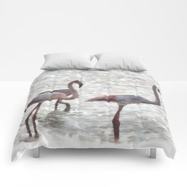 Three Flamingos Watercolor Comforters