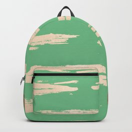 Abstract Paint Stripes Gold Tropical Green Backpack