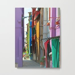 Colourful houses on Burano Island, Venice Metal Print