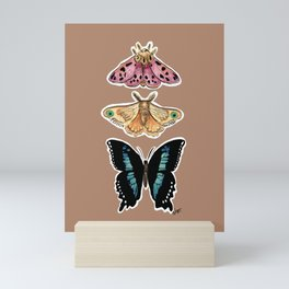 Trio butterflies_earth tones Mini Art Print