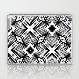 Black and White - Woodcut Etching Cross Geometric Laptop & iPad Skin