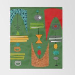Mid-Century Modern Green Tiki Tok Throw Blanket