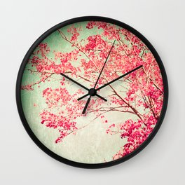 Autumn - Fall - foliage - Hot pink tree leaves in a textured blue sky Wall Clock
